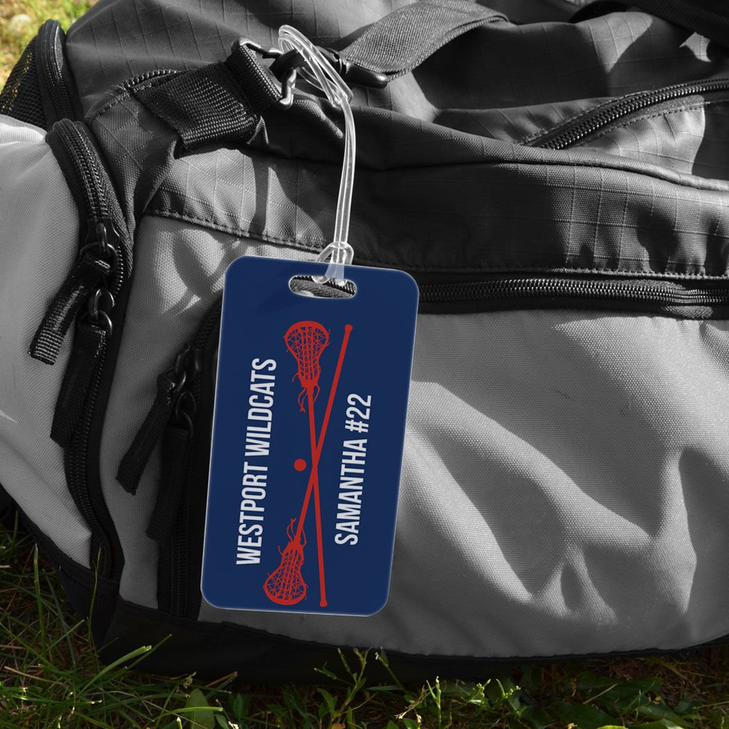 Standard Lines on Back Personalized Text with Crossed Lax Sticks SMALL CAROLINA//NAVY Girls Lacrosse Luggage /& Bag Tag