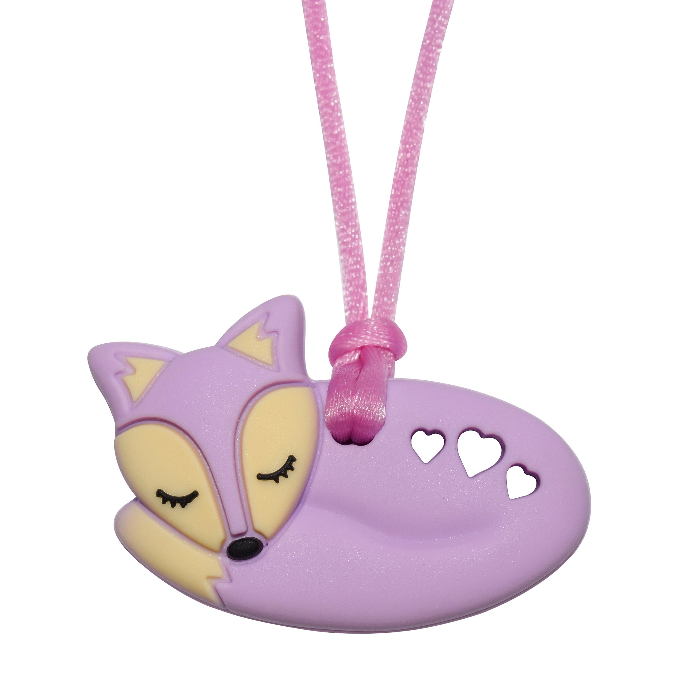 Foxy Fox Necklace (Purple) - Sensory Oral Motor Aide Chewelry Necklace - Chewy Jewelry for Sensory-Focused Kids with Autism or Special Needs - Calms Kids and Reduces Biting/Chewing/Fidgeting by Munchables Chewelry