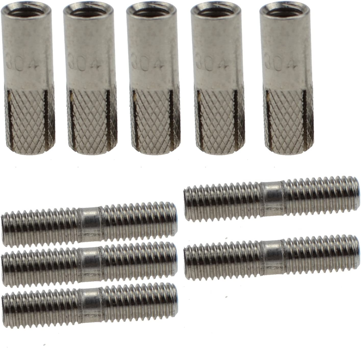 5pcs 304 Stainless Steel Invisible Wall Bracket Expansion Screw Partition Bracket Fitting Expansion Screw M6 80mm
