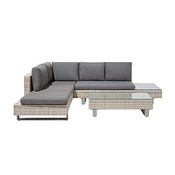 Rattan Lounge Gartenmöbel Set Hellbraun Für 5 Personen Mit