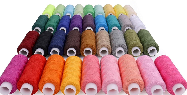 Luxbon Une Bo/îte de 36 Bobines Fils /à Coudre Polyester Multicolor/és 250 Yard r/éparer V/êtements Sac Artisanat DIY