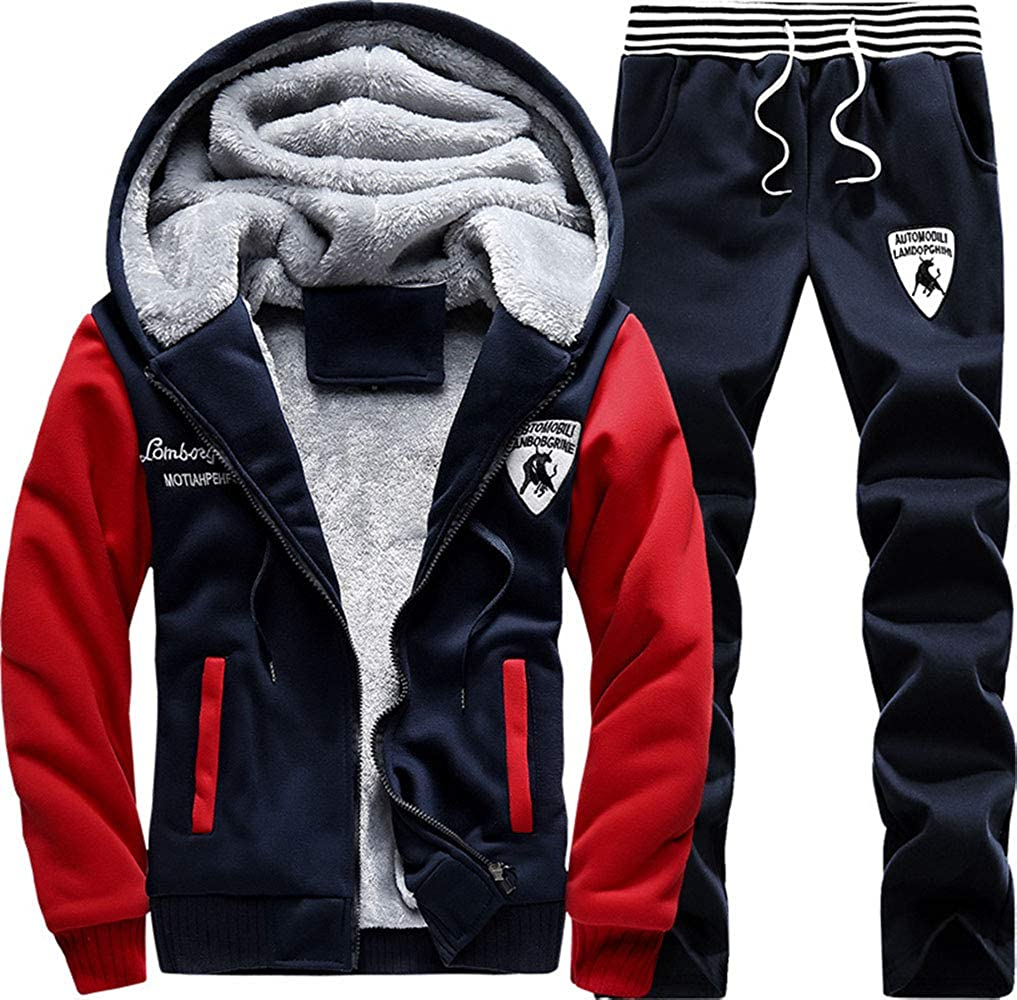 fd1f40ca9c3 Amazon.com  Manluo Men s Sweatsuits Winter Warm Tracksuits Printing Thick Jogging  Suits Hoodies Active Sports Suits Running  Clothing