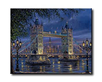 Shukqueen Diy Oil Painting Framed Canvas Adults Paint by Number Kits Acrylic Painting-Tower Bridge 16X20 Inch