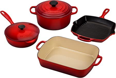 Le Creuset Signature 6-Piece Cast Iron Cookware Set, Cerise Cherry Red