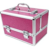 Large Pink Sequins Professional Aluminium Beauty Cosmetic Box Make Up Case