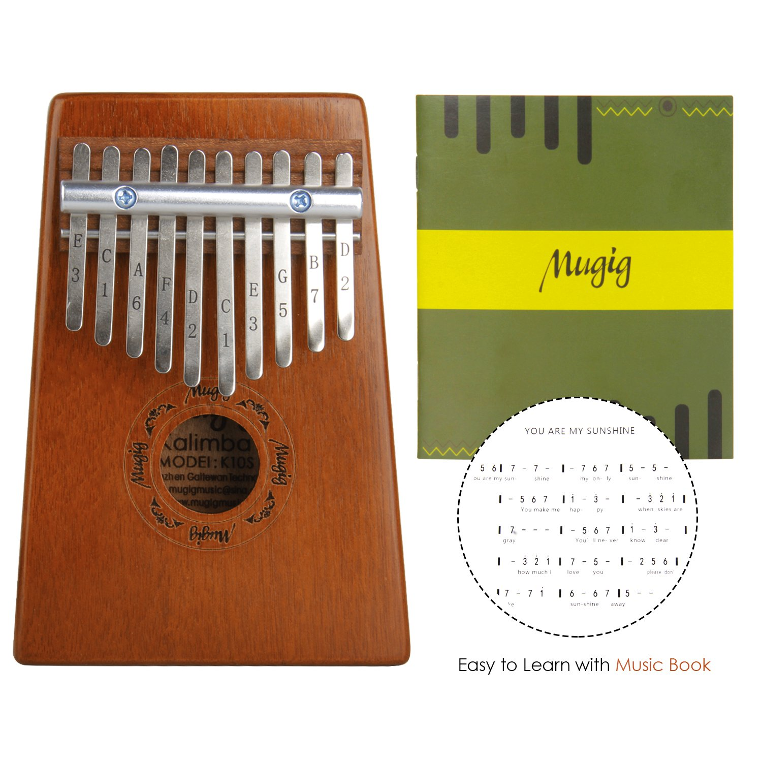 Kalimba Mbira Sanza 10 Keys Thumb Piano Pocket Size Beginners Friendly Supporting Kalimba Bag and Musical Notation