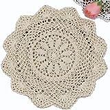 """Creative Linens 6PCS 12"""" Round Crochet Lace Doily Beige 100% Cotton Handmade, Set of 6 Pieces"""
