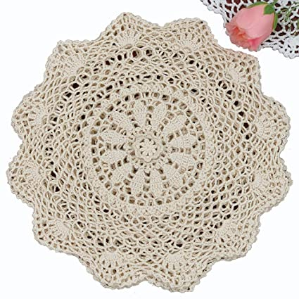 Amazon 6pcs 12 Round Crochet Lace Doily Beige 100 Cotton