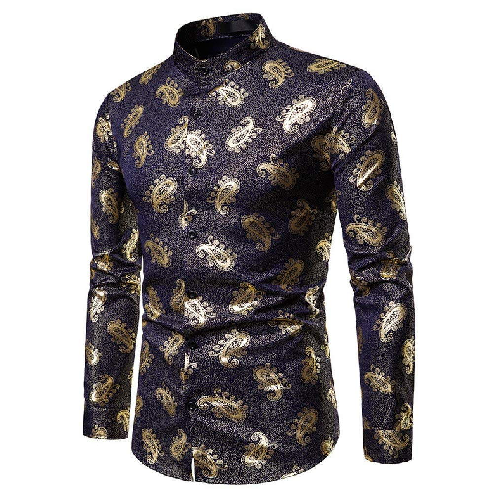 Fieer Mens Printing Casual Autumn Stand Collar Gilded Dress Shirt