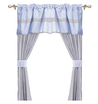 Baby Doll Bedding Solid two tone 5-Piece Window Valance Curtain Set Grey//Pink