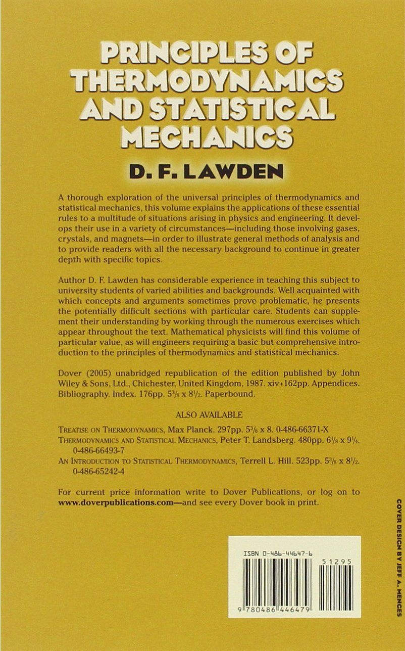 Principles of Thermodynamics and Statistical Mechanics (Dover Books on  Physics): D. F. Lawden: 9780486446479: Amazon.com: Books