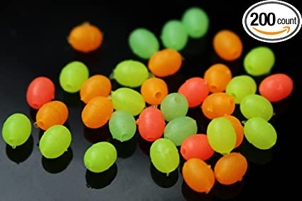 200 pcs mixed Luminous Oval Plastic Soft Sinking Fishing Beads Bulk Accessories