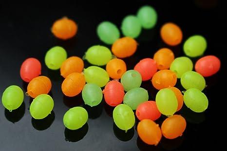 Tigofly 200/pz 4/colori misti plastica ovale pesca perline luminoso Glow in the Dark Floating Bulk accessori Fly Tying Materials