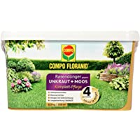 COMPO FLORANID Rasendünger gegen Unkraut+ Moos Komplett-Pflege, 3 Monate Langzeitwirkung, Feingranulat, 6 kg