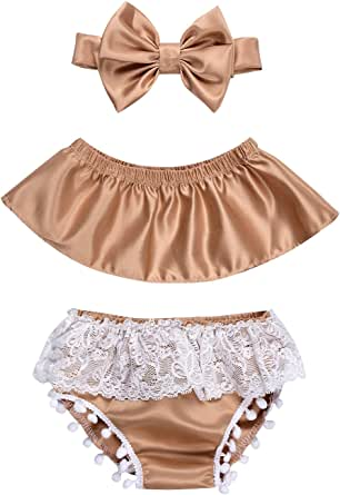 Kissybaby Toddler Baby Girls Clothes Off Shoulder Short Sleeve Tops Lace Tassel Shorts Bow Headband Summer Outfits Set