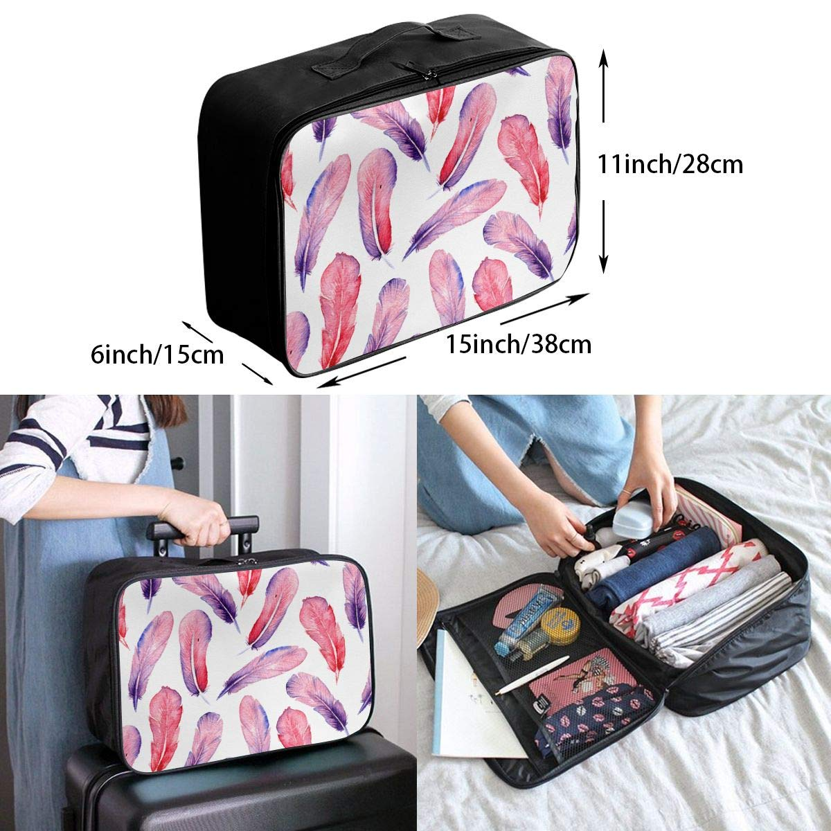 Travel Luggage Duffle Bag Lightweight Portable Handbag Watercolor Feathers Print Large Capacity Waterproof Foldable Storage Tote