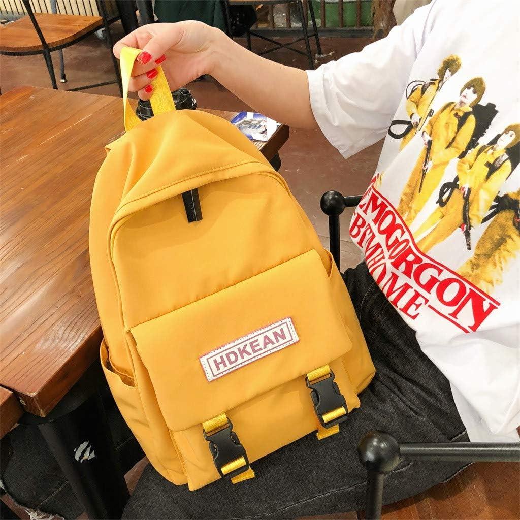 Yezijin Large Capacity Solid Color Waterproof Nylon Casual Backpack School Bag Large Capacity Backpack