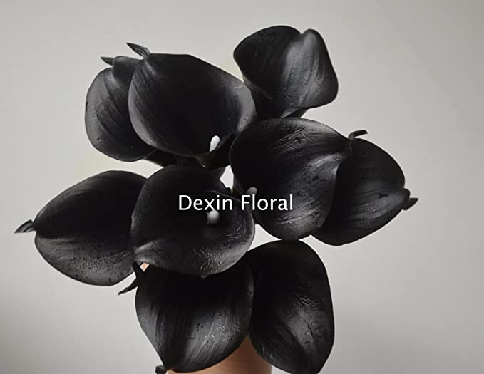 fdf540be50471 FidgetFidget Bouquet Wedding Real Touch Flowers 36 Black Calla Lily Black  Flowers Silk Bridal