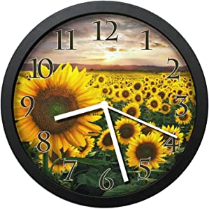 Dadidyc Field of Sunflowers Silent Wall Clock for Home Office Kitchen Unique Decorative Round Clock Wall Decor with Frame 10in