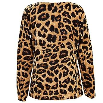 ❤ Blusa de Mujer con Cuello en V Estampado Leopardo, Camisetas de Moda otoño Casual Tops Sueltos Blusa de la túnica Mujeres Tops Absolute: Amazon.es: ...