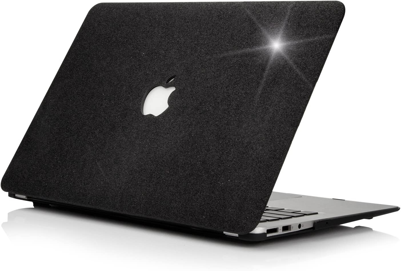 "Funut MacBook Air 13 Inch Leather Case, Shiny Hard Plastic Case Shell Slim Smooth Touch Air 13 Protective Case Cover for (2010-2017 Older Ver.) Mac Air 13.3"" (A1466 & A1369), Shiny Black"