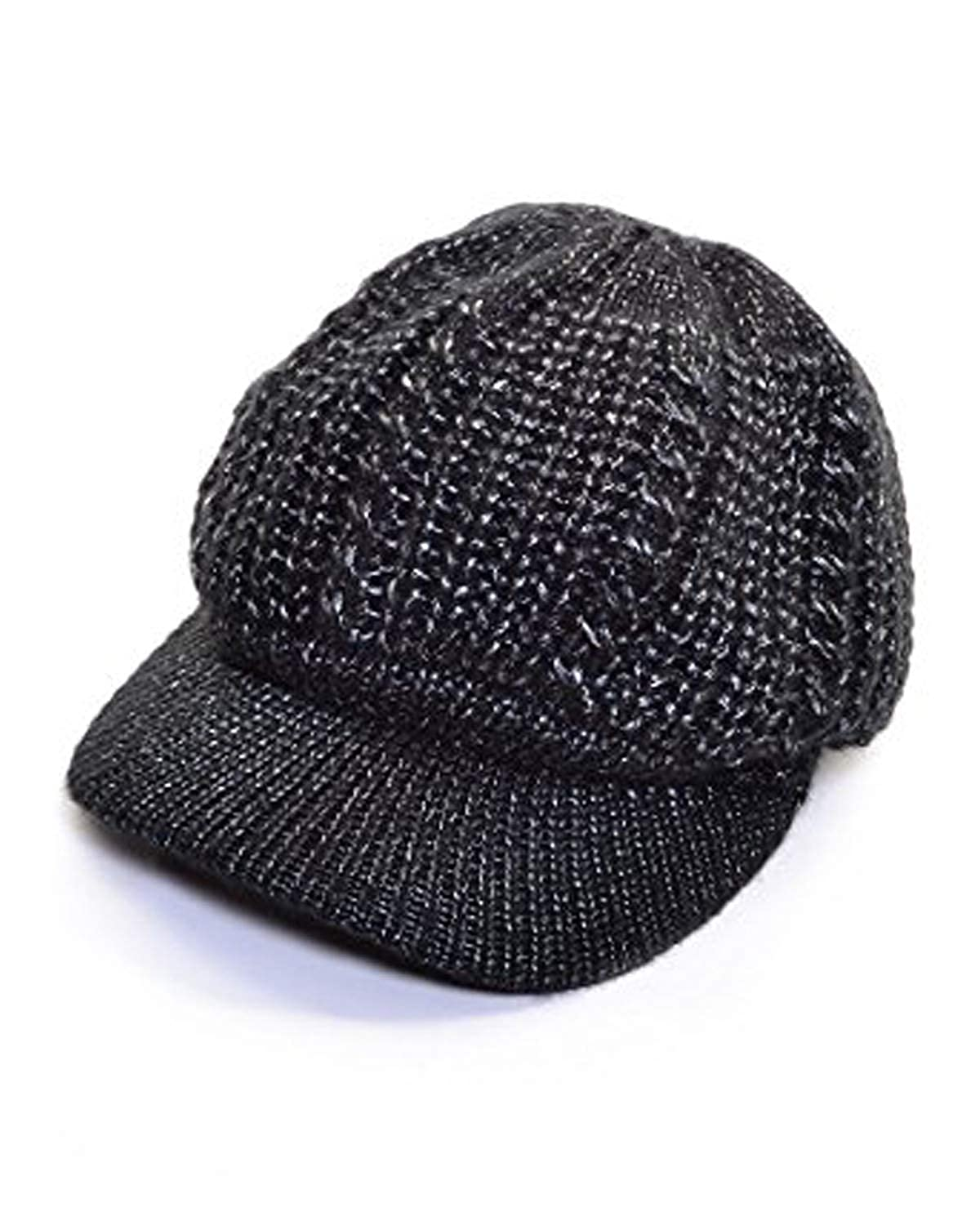8803d7822 an Beanie Cap Metallic Chunky Knit Newsboy Hat Brim Lined Beret Visor Winter