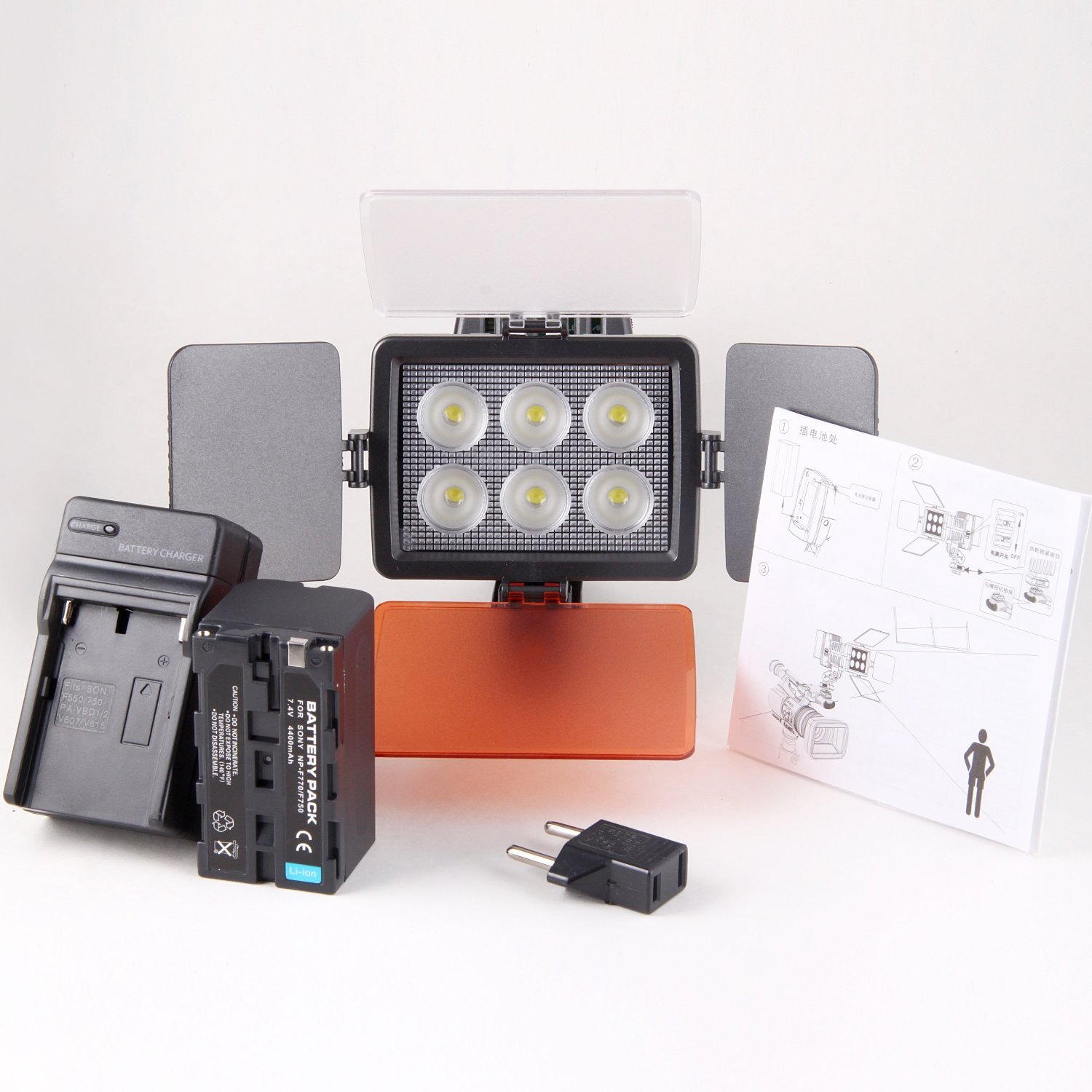 Kaavie - Professional & Improved Quality - High Brightness 6 LED Video Light + F750 Battery - Full LED Lights for Dslrs and Camcorders Canon - Nikon - Olympus - Sony - Panasonic - Pentax by Kaavie
