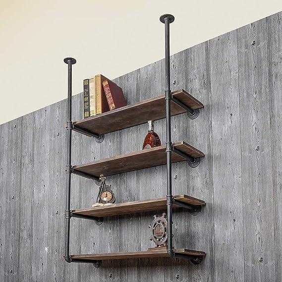 Los soportes de estante Escalera estante estante de la pared Industrial estantería de almacenamiento de validez 4-Estantería de Unidad de estantería for el hogar y la oficina Estantes de pared de acer: