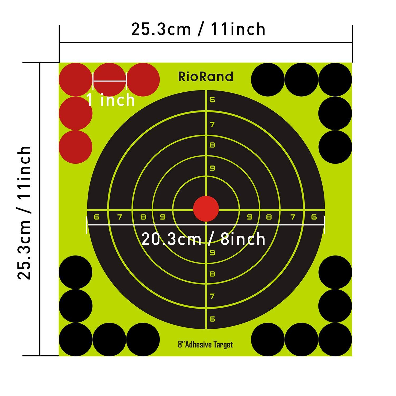 Reactive Shooting Targets-8 inch Self Adhesive Paper Target Stickers for Gun Rifle,Pistol,BB Gun,AirSoft,Pellet Gun,Air Rifle