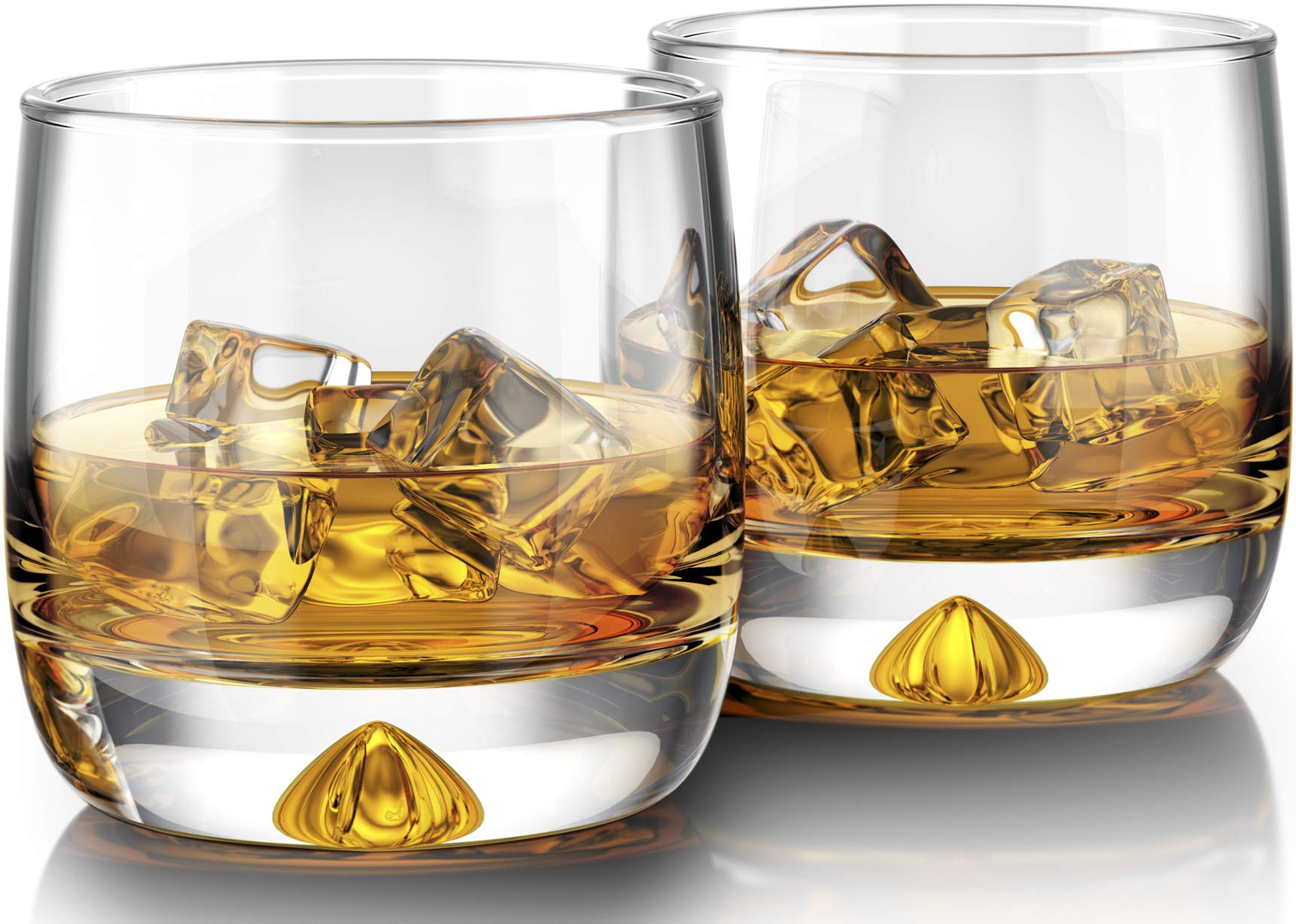Premium Whiskey Glasses - Large - 12oz Set of 2 - Lead Free Hand Blown Crystal - Thick Weighted Bottom - Seamless Handmade Design - Perfect for Scotch, Bourbon, Manhattans, Old Fashioned's, Cocktails.