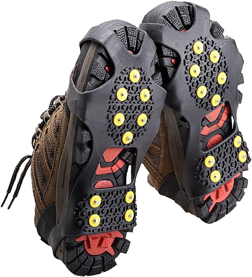 No Slip Gripper Spikes Large Black Ice Snow Traction Shoe Boot Cleats