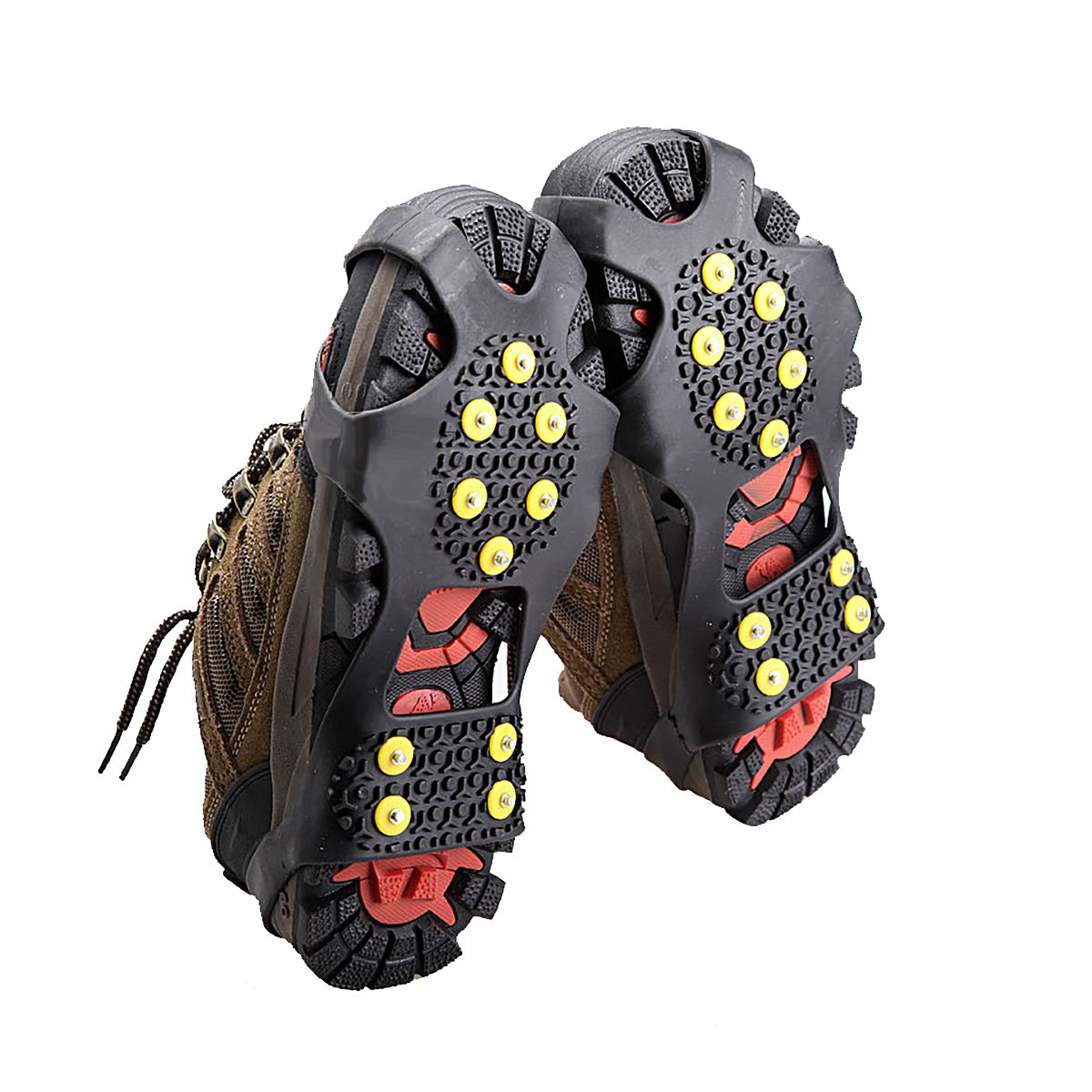 Ice Grippers - Black Ice Cleats, Ice Grips Traction Cleats Grippers Non-slip Over Shoe/Boot Rubber Spikes Crampons Anti Easy Slip 10 Steel Studs Crampons Slip-on Stretch Footwear She-Lin