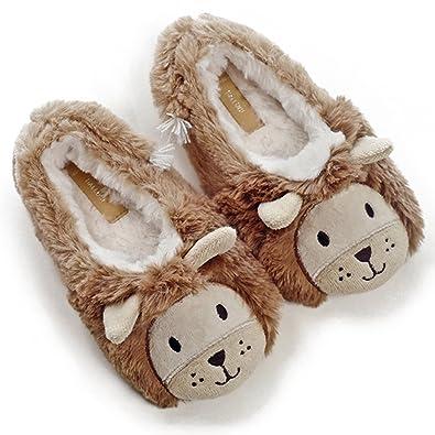 f6a7468ba Amazon.com | Kids' Cute Lion Plush Fleece Memory Foam House Slippers w/Long  Tail | Slippers