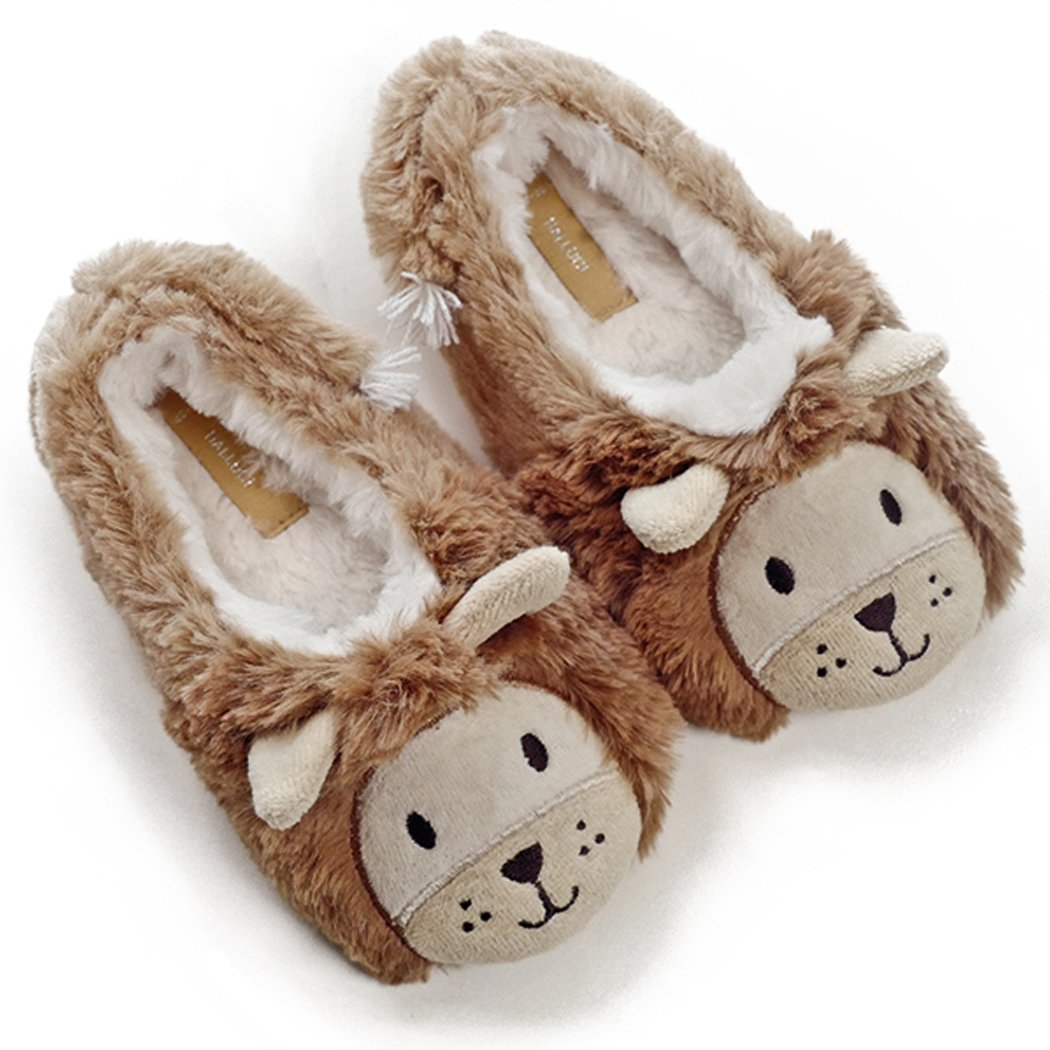 Kids' Cute Lion Plush Fleece Memory Foam House Slippers w/Long Tail (10 M US Toddler, Brown)
