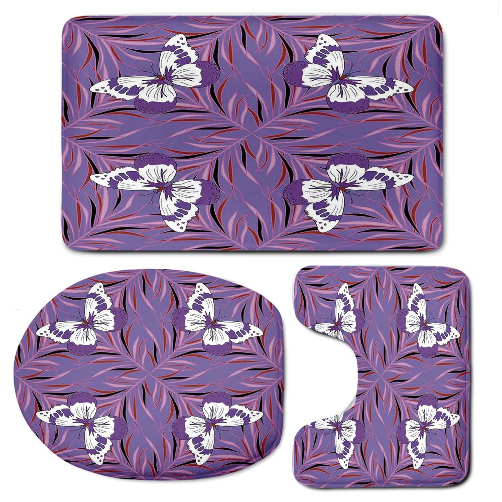 3 Piece Bath Mat Rug Set,Mauve-Decor,Bathroom Non-Slip Floor Mat,Exquisite-Butterfly-Icons-Spiritual-Animal-with-Wings-Fairy-Illustration,Pedestal Rug + Lid Toilet Cover + Bath Mat,Lavender-White