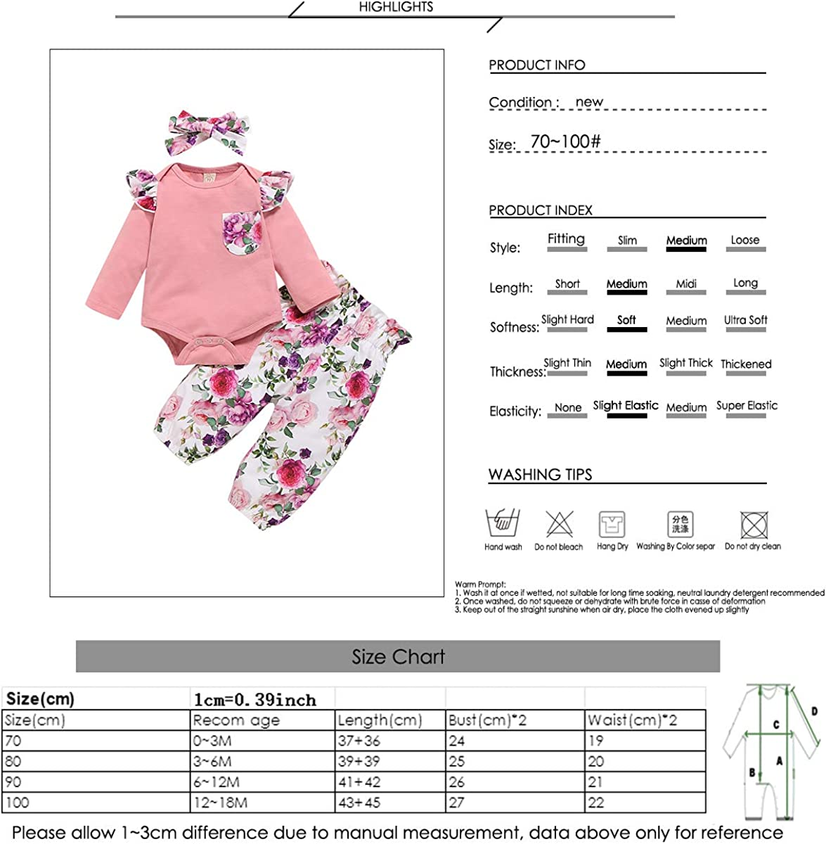 Camidy 3Pcs Newborn Baby Girl Cotton Romper Floral Pants Headband Outfit Clothes