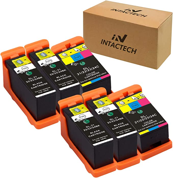 Intactech Compatible Dell V515w, V715w, V313w, Series 21, Series 22, Series 23, Series 24 Ink Cartridges 6 Pack (4 Black/2 Color) Work for Dell V313, V313w, V515w, V715w, P513w, P713w Printer