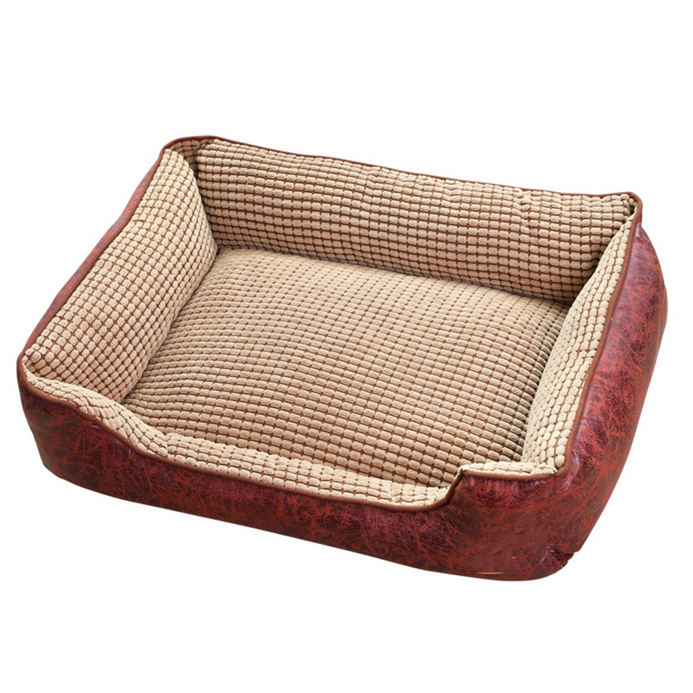 Large QINYL Four Seasons Universal Removable Washable Pet Nest, Teddy golden Embroidered Footprints Kennel(Brown),L