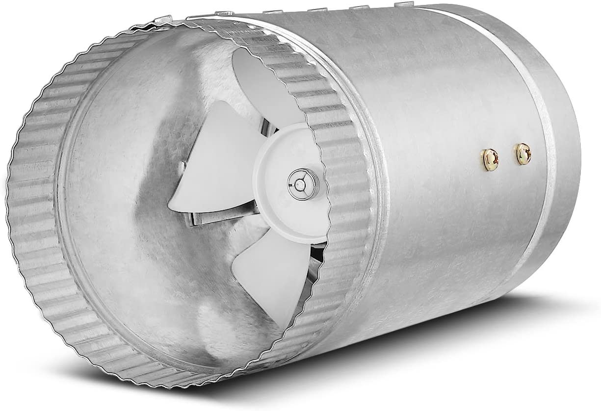 Flexzion Inline Duct Fan Booster - (4 Inch, 65 CFM) Exhaust Blower Vent Air Extractor Ventilation System HVAC Low Noise Quiet Operation with Blade & Grounded Power Cord