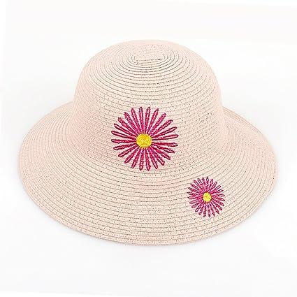 YXX- Margaritas de Arte Sombrero de paja de playa Protección UV Mujeres de  ala ancha ffa8a637ea6