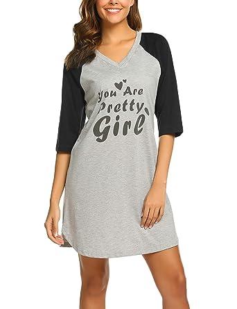 01b80fedf4 Ekouaer Sleep Shirts for Women Raglan Sleeve Nightgowns Printed Design  Nightshirt