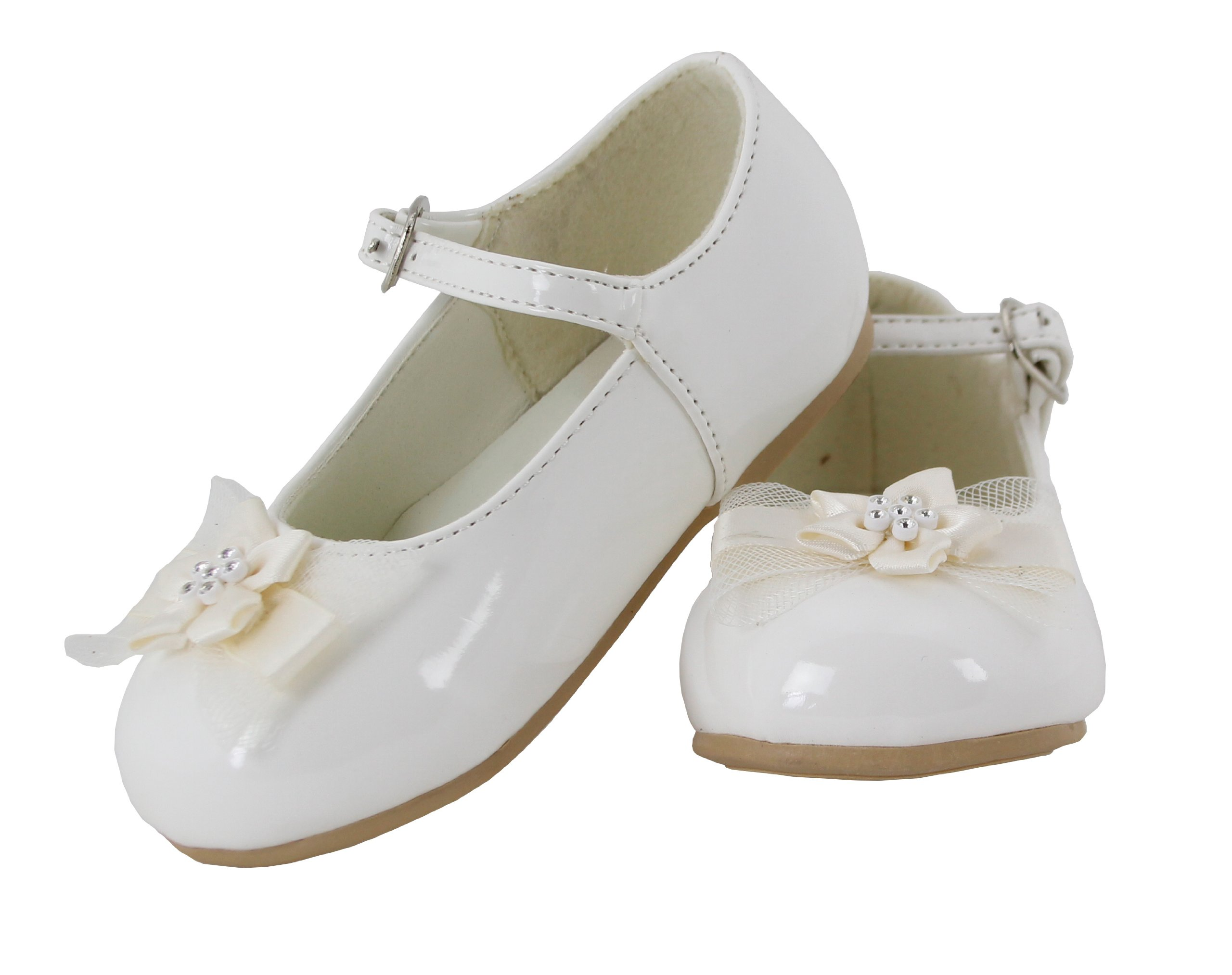 Betty Patent Leather Flower Mary Jane Shoes for Toddlers (Ivory, Toddler 7)