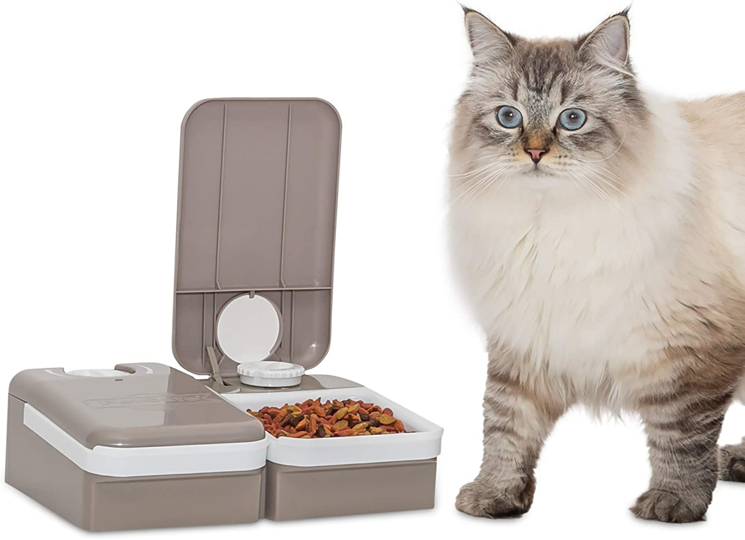 Pet Supplies : PetSafe Automatic 2 Meal Pet Feeder with Battery Powered Programmable Timer, 3 Cups Total Capacity, Cat and Small to Medium Dog Food Dispenser : Pet Self Feeders :
