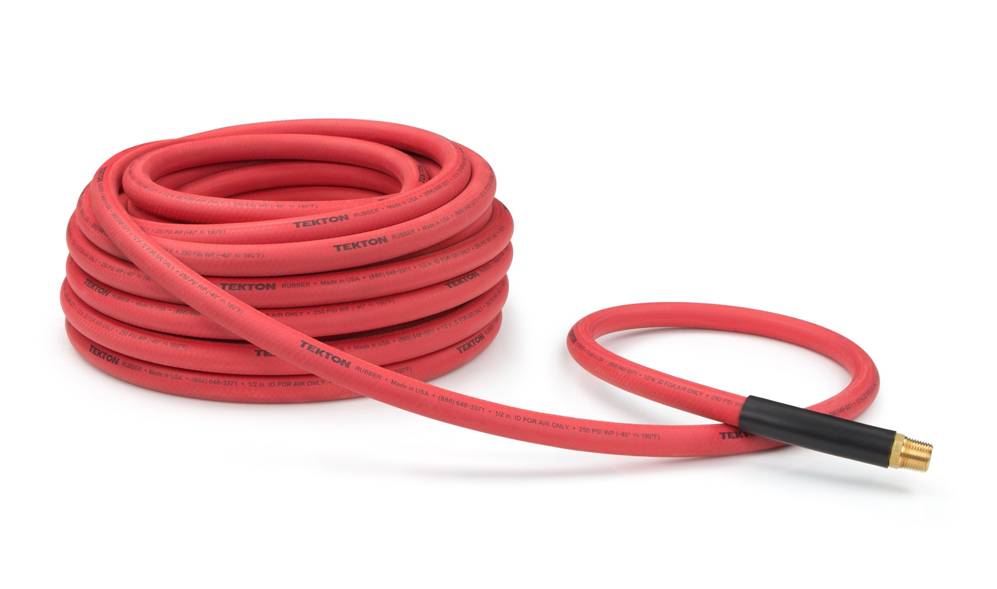 TEKTON 46367 1/2-Inch I.D. by 50-Foot 250 PSI Rubber Air Hose with 1/2-Inch MPT Ends and Bend Restrictors by TEKTON