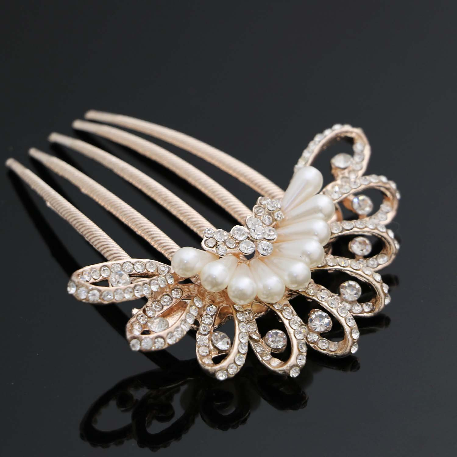 Nero Decorative Hair Combs with Rhinestones for Women, Hair Accessories for Girls.