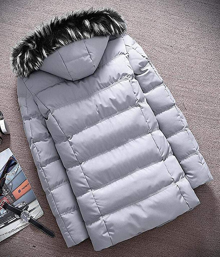 Pivaconis Mens Warm Pure Color Faux Fur Hooded Winter Down Quilted Coat Jacket Outwear