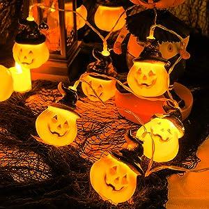 PheiLa Pumpkin String Lights Halloween Decorations 9.8 Feet 20 LED Orange Pumpkin Holiday Lights 2 Modes Steady/Flickering Lights for Thanksgiving Autumn Themed Party Decor