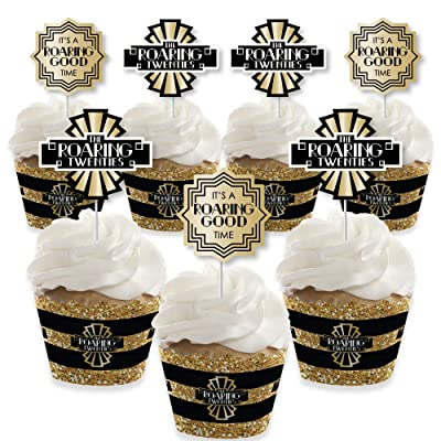 Big Dot of Happiness Roaring 20\'s - Cupcake Decoration - 1920s Art Deco Jazz Party Cupcake Wrappers and Treat Picks Kit - 2020 Graduation and Prom Party - Set of 24: Toys & Games [5Bkhe1801293]
