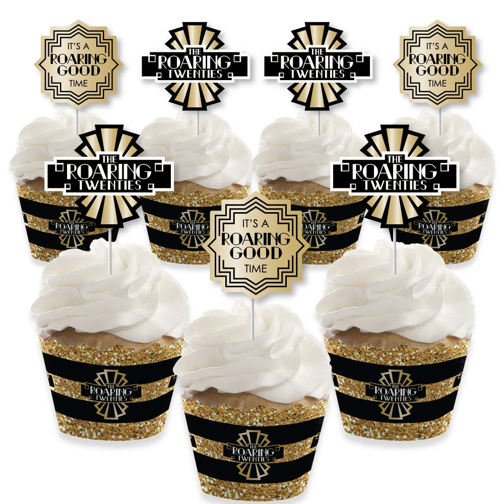Roaring 20's - Cupcake Decoration - 1920s Art Deco Jazz Party Cupcake Wrappers and Treat Picks Kit - 2020 New Year's Eve Party - Set of 24 by Big Dot of Happiness