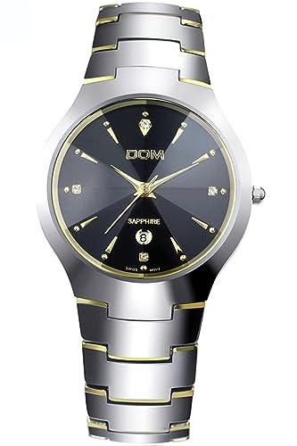 Dom Hombre Dorado Lujo Acero de tungsteno Marcas de Relojes Analogico Quartz: Amazon.es: Relojes